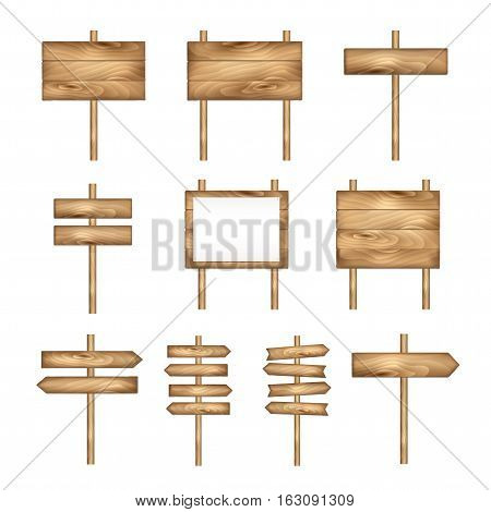 Wooden signboards wood arrow sign set. Empty signboard banner collection isolated on white background. Wooden sign boards and arrows. Vector signs.