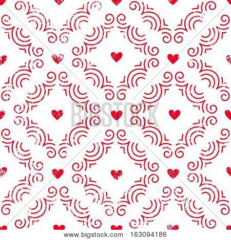 Seamless pattern with hearts. Retro background for Valentines Day, wedding, etc. EPS10 vector illustration.