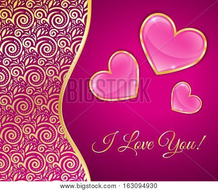 Glossy Hearts In A Gold Rim On Pink Background With Lace Insert Greeting Card For Valentines Day.