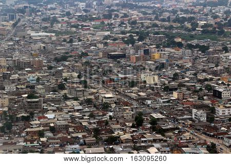 Top view of poor districts of the city of Pointe-Noire, Rep. Congo, february 2015