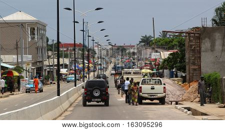 Streets and taxi cars of the coastal city of Pointe-Noire, Congo Republic, february 2015