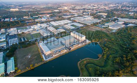 Aerial view of Industrial Estate northern thailand.Lamphunthailand.