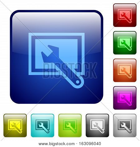 Screen settings icons in rounded square color glossy button set