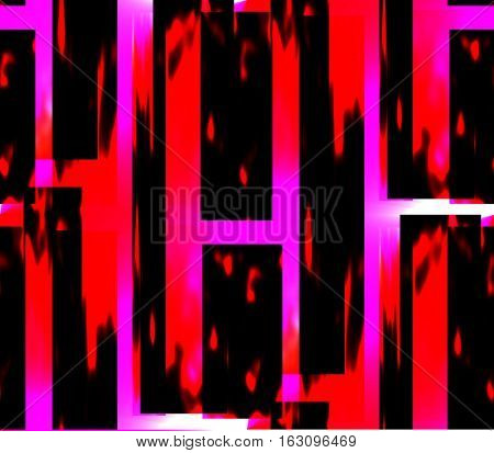 seamless abstract lines background, ribbons, stripes and squares pink with black and red to pink with black and red background around, seen the letter h