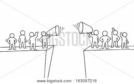 Cartoon working little people near abyss. Doodle cute miniature scene of two teams with megaphones. Hand drawn vector illustration for business design and infographic.