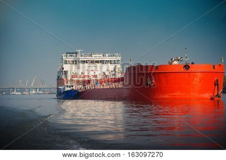 major red river oil tanker. ship, industry