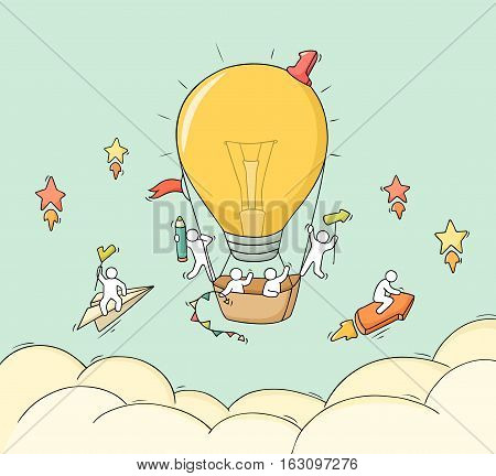 Cartoon little people fly in air. Doodle cute miniature scene of workers with air balloon form lamp idea. Hand drawn vector illustration for business design.