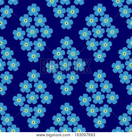 seamless pattern with forget-me-in the form of rhombus on dark blue background