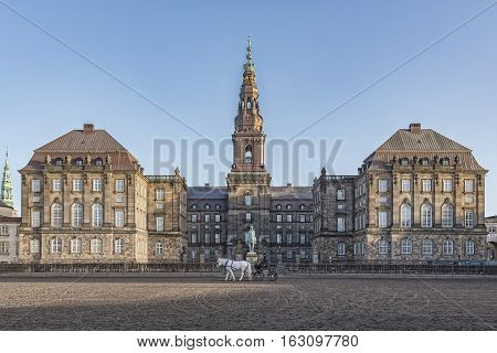 COPENHAGEN DENMARK - DECEMBER 24 2016: Christianborg palace courtyard view in Copenhagen Denmark.