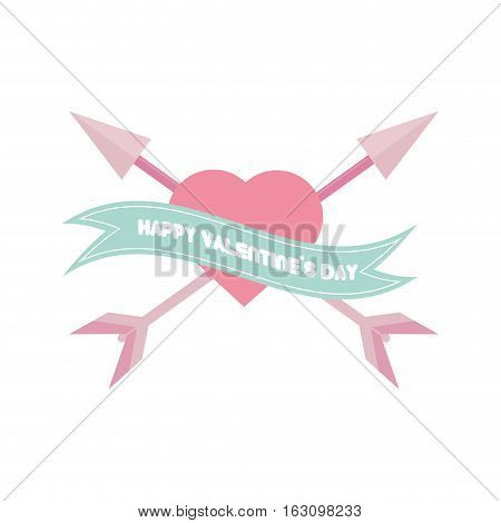 happy valentines day card pink heart arrows crossed vector illustration eps 10