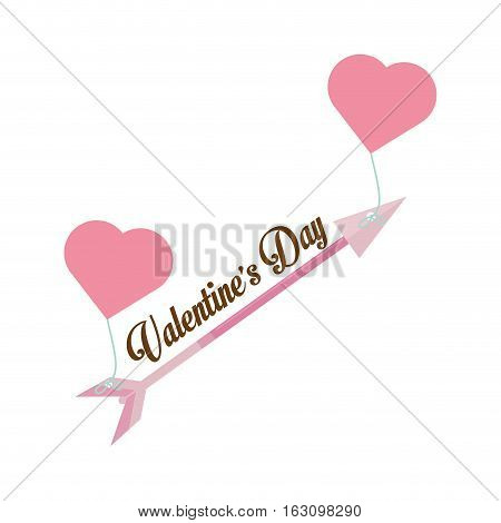 happy valentines day card arrow hanging hearts vector illustration eps 10