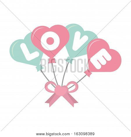 love card hearts balloons hang with bow vector illustration eps 10