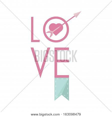 love greeting card with heart arrow and banner pastel color vector illustration eps 10