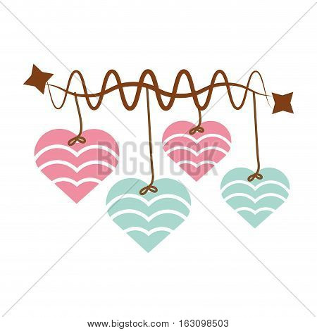 hearts hanging pink and blue star decoration vector illustration eps 10