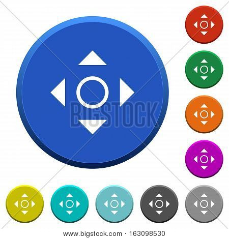 Scroll round color beveled buttons with smooth surfaces and flat white icons