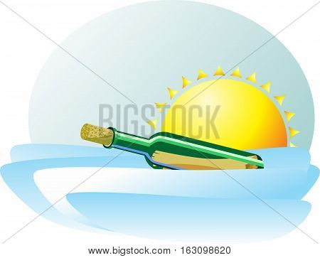 A bottle with a message floating in the waves of the sea against the sun. Bright pretty icon