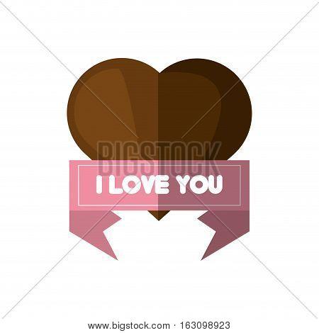 i love you card brown heart card vector illustration eps 10