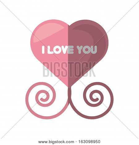 i love you pink heart decorative shadow vector illustration eps 10