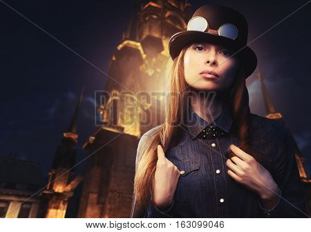 beautiful woman in hat night city christmas