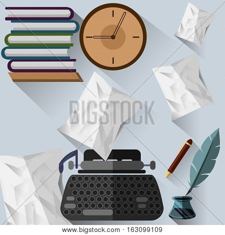 Objects for writer profession in a flat style.
