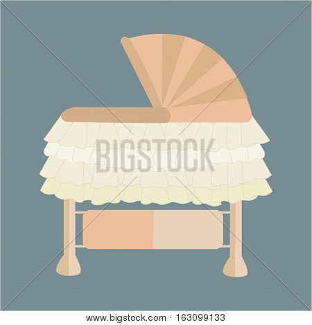 Baby cradle with ruffles, cream color, isolated.