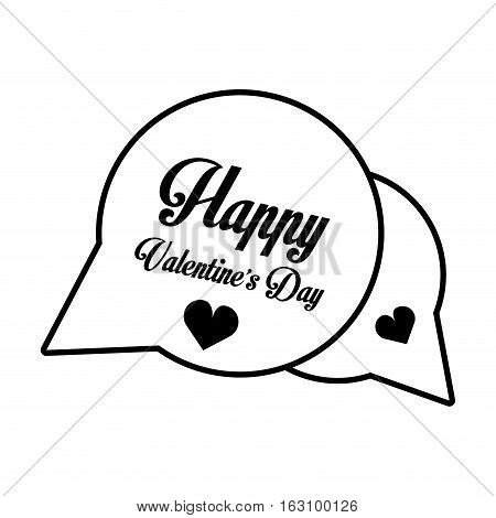 happy valentines day card bubble hearts outline vector illustration eps 10