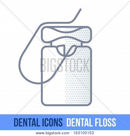 Vector Line Dental Icon.  Floss