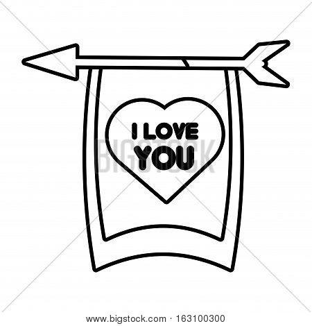 greeting i love you heart arrow ribbon outline vector illustration eps 10