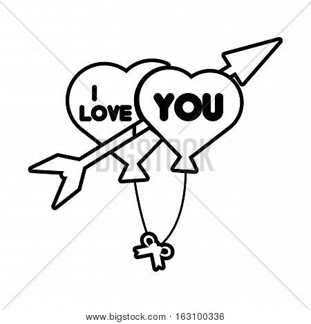 i love hearts arrow flying card outline vector illustration eps 10