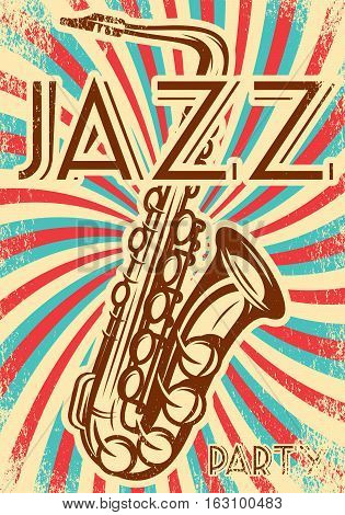 Vector stylish vintage advertising poster with saxophone for the party