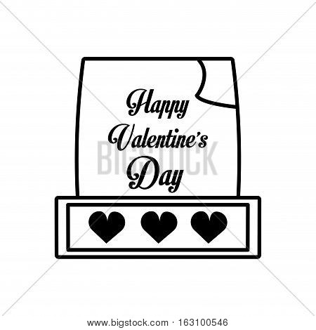 happy valentines day card hearts outline vector illustration eps 10