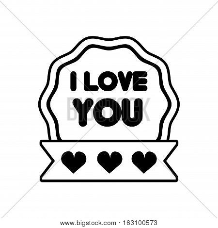 i love you decor ribbon label outline vector illustration eps 10