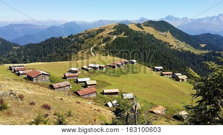 Rize Ayder Pokut from the plateau, through the mountains, a view of the plateau houses.