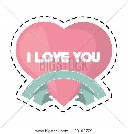 heart i love you ribbon cut line vector illustration eps 10