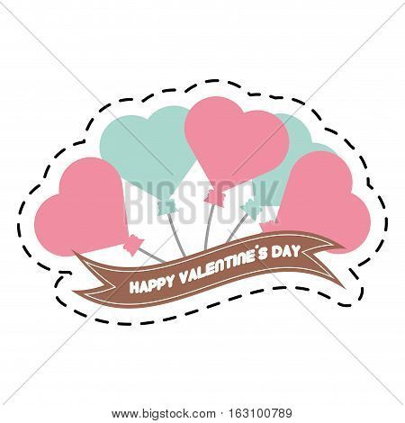 happy valentine day card balloons heart and ribbon cut line vector illustration eps 10