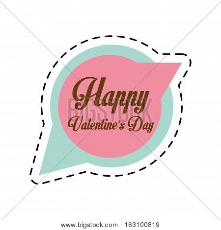 happy valentines day card bubble speech cut line vector illustration eps 10