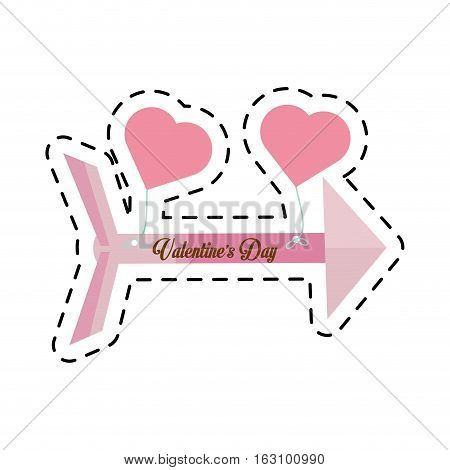 pink happy valentines day card arrow hanging hearts cut line vector illustration eps 10