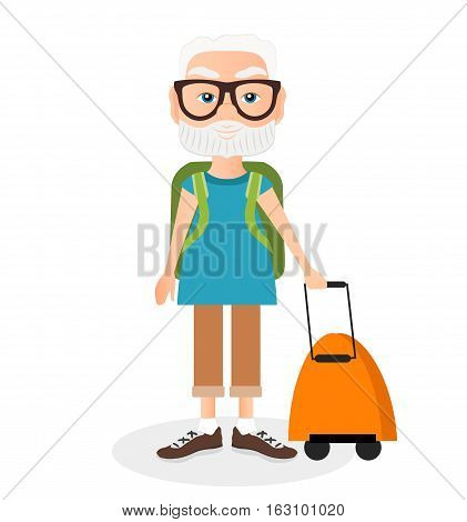 Grandfather With A Packsack Travel. Travelling With The Knapsack. Vector Illustration Eps 10 Isolate