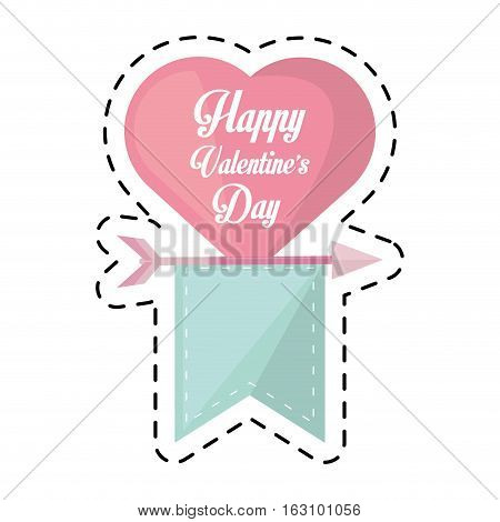 happy valentines day card heart hanging ribbon cut line vector illustration eps 10