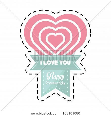 happy valentines day card big heart cut line vector illustration eps 10