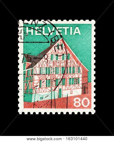SWITZERLAND - CIRCA 1973 : Cancelled postage stamp printed by Switzerland, that shows Ermatingen house.