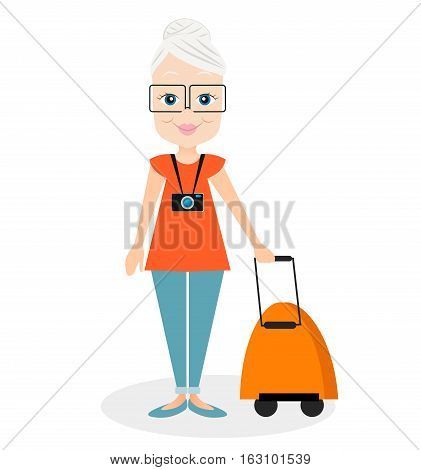 Grandmother With A Packsack Travel. Travelling With The Knapsack. Vector Illustration Eps 10 Isolate