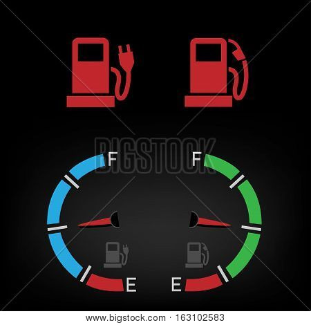 Car control panel interface fuel icon isolated on black background. Auto gas and battery sign icons. Collection transportation gasoline electric panel symbol