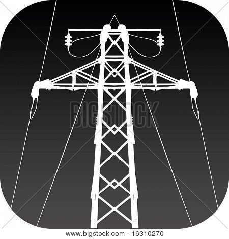 Icon of high-tension transmission line poster