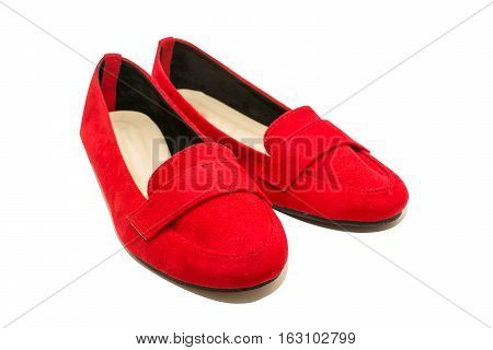 red shoes woman isolated on white background.
