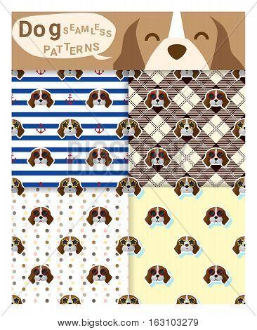 Set of animal seamless patterns with beagle dog , vector , illustration