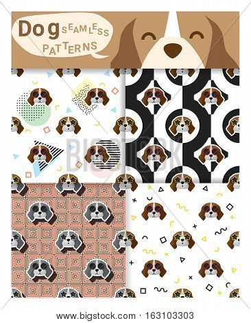 Set of animal seamless patterns with beagle dog , vector , illustration