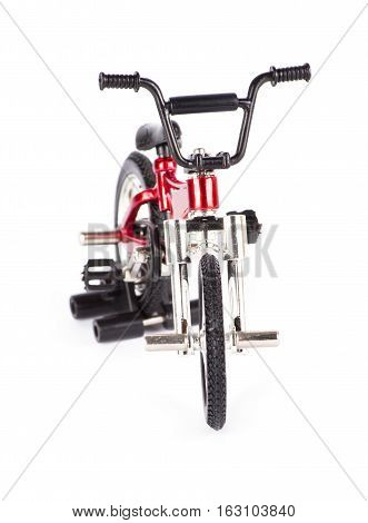 New red bicycle isolated on white background