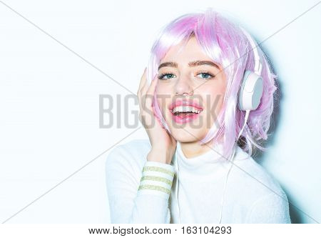 Girl In Pink Wig With Headset