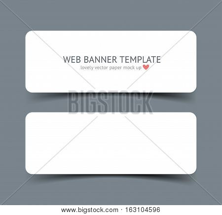 Realistic vector web banner, header, footer. Paper strip card wirh round corners and shadow isolated on dark gray background. Mock up for graphic designar portfolio presentation, paper template